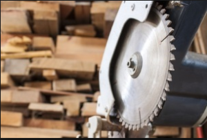 Circular saw in wood shop or mill